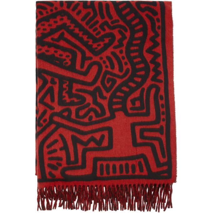 Etudes Foulard rouge et noir Magnolia All Over Print edition Keith Haring
