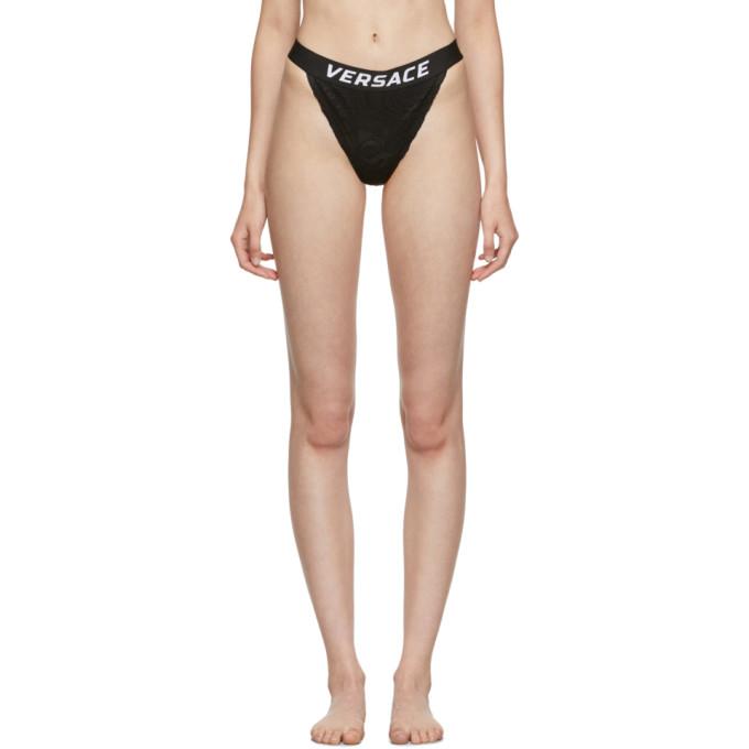 Versace Underwear Culotte en dentelle noire Band