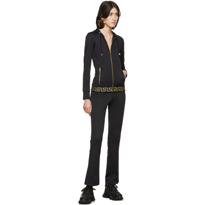 VERSACE VERSACE UNDERWEAR BLACK GREEK KEY LOUNGE PANTS