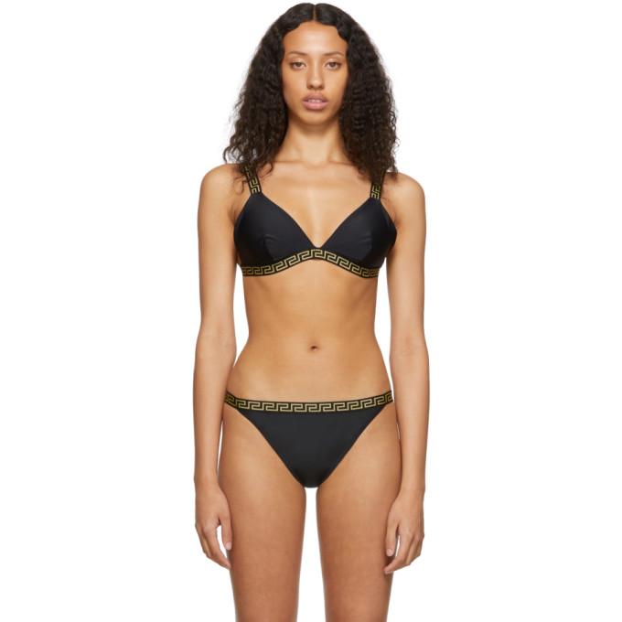 Versace Underwear Haut de bikini triangle noir Greek Key