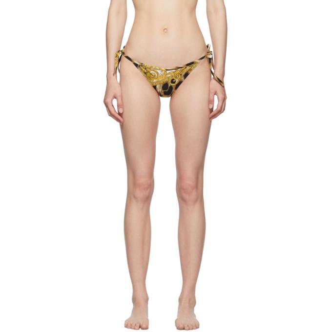 Versace Underwear Culotte de bikini noire et brun clair Barocco Animalier String