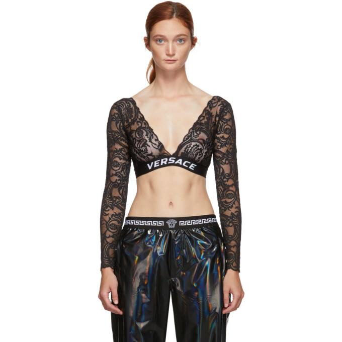 Versace Underwear Haut en dentelle a logo noir