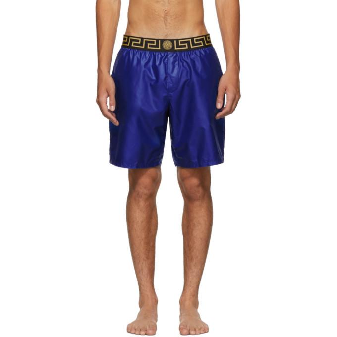 Versace Underwear Maillot de bain bleu Greek Key Medusa