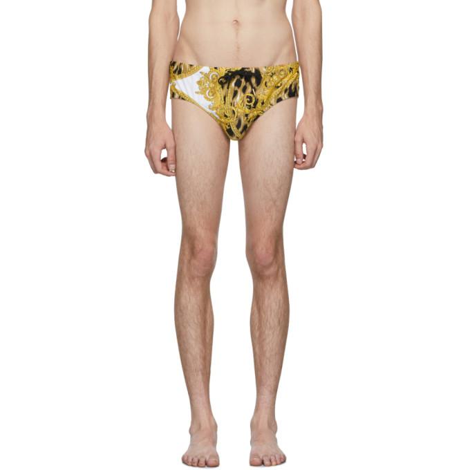 Versace Underwear Maillot de bain blanc et dore Animal