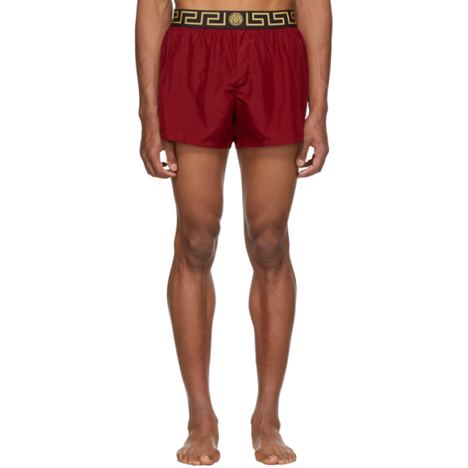 Versace Underwear Maillot de bain rouge Greek Key Border