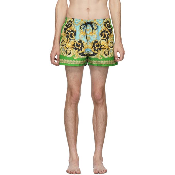 Versace Underwear Maillot de bain vert et bleu Barocco