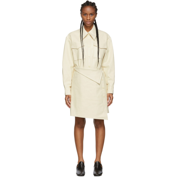 Low Classic Robe trench en cuir synthetique blanche