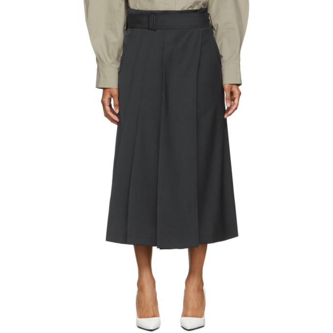 Low Classic Jupe ceinturee en laine bleu marine