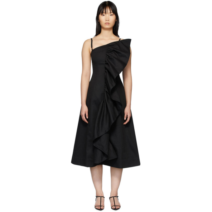 Edit Robe noire Tuck Frill exclusive a SSENSE