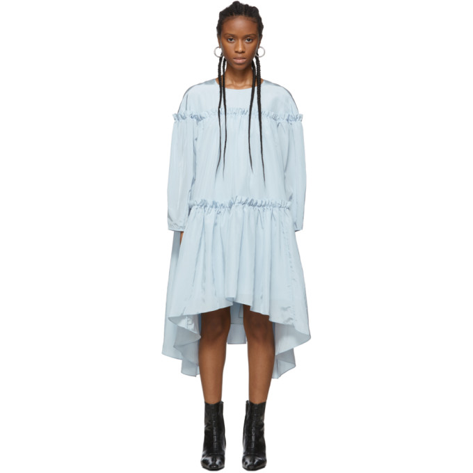 Edit Robe froncee bleue Volume exclusive a SSENSE