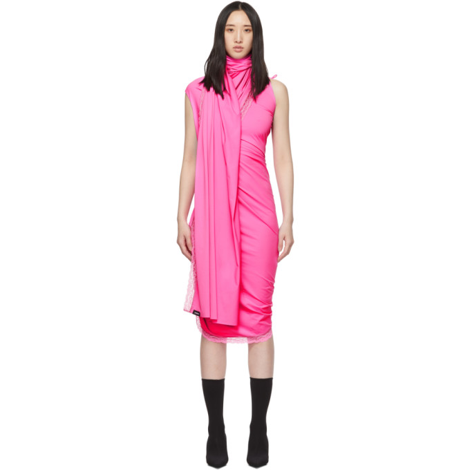 Vetements Dresses VETEMENTS PINK LINGERIE WRAP DRESS