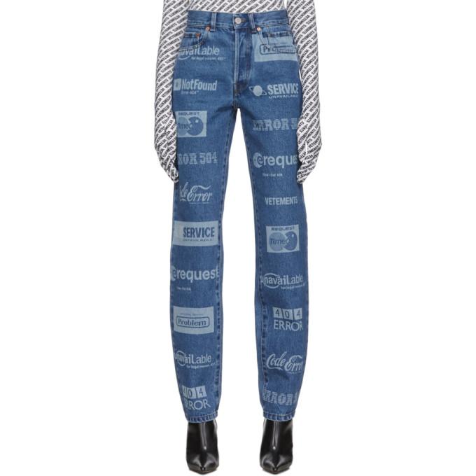 Vetements Jeans VETEMENTS BLUE FULLY BRANDED JEANS