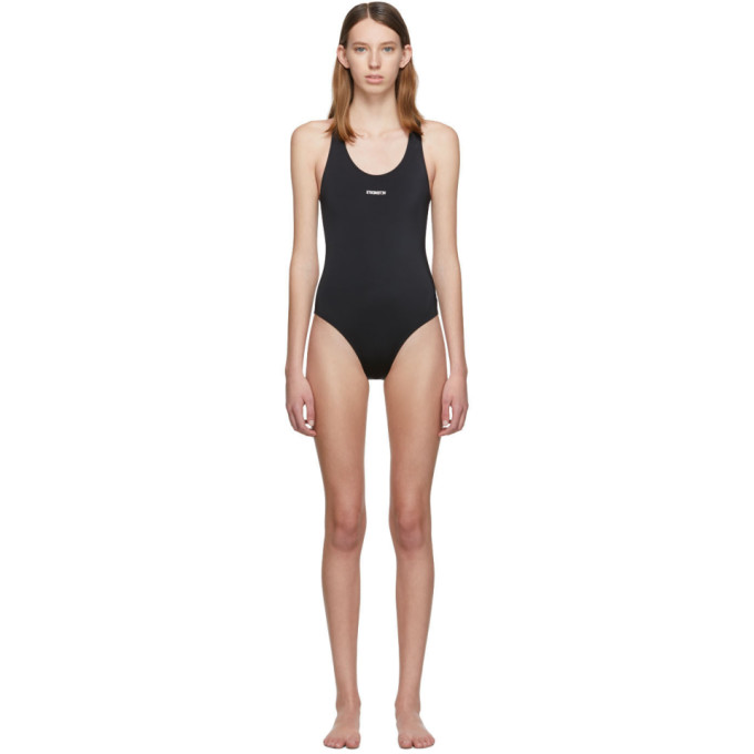 VETEMENTS | Vetements Black Logo Baywatch One-Piece Swimsuit | Goxip