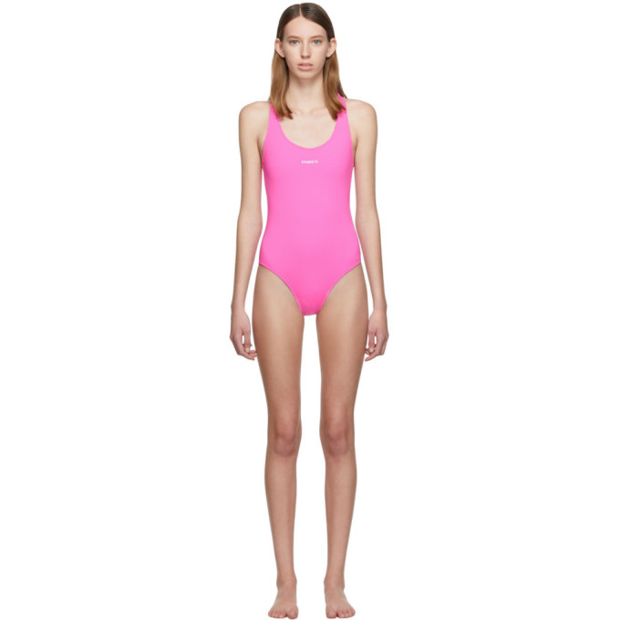 VETEMENTS | Vetements Pink Logo Baywatch One-Piece Swimsuit | Goxip