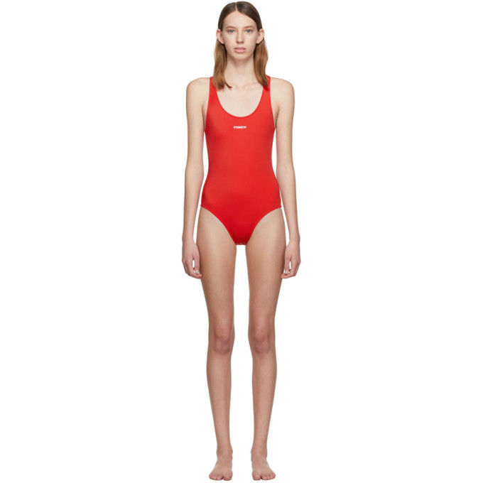 VETEMENTS | Vetements Red Logo Baywatch One-Piece Swimsuit | Goxip