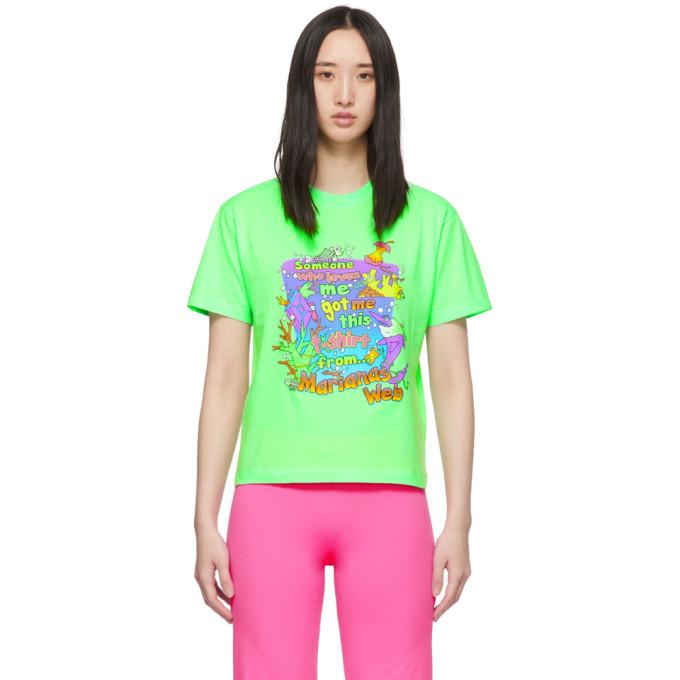 Vetements T-shirts VETEMENTS GREEN VACATION CROPPED T-SHIRT