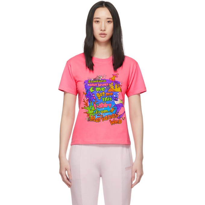 Vetements T-shirts VETEMENTS PINK VACATION CROPPED T-SHIRT