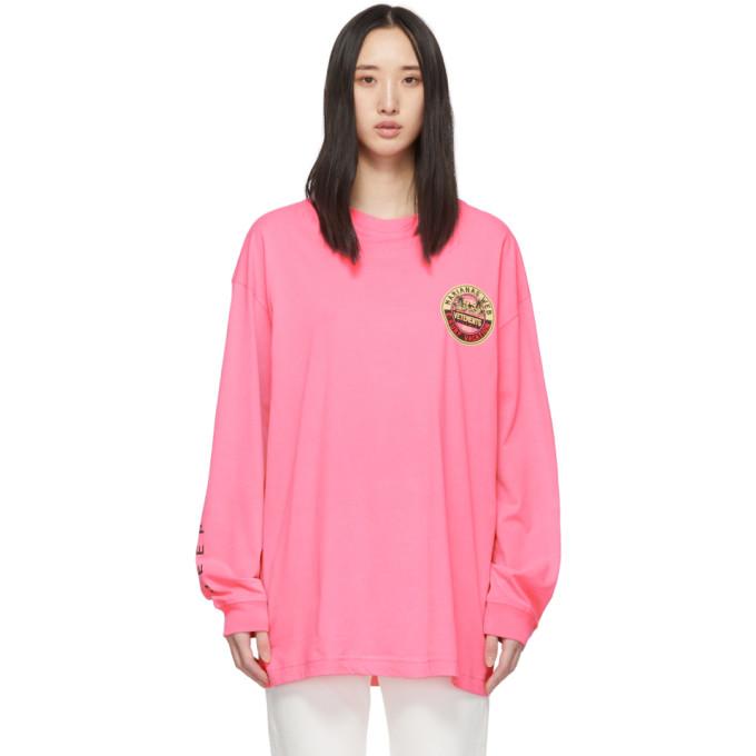 Vetements T-shirts VETEMENTS PINK SURFER LOGO LONG SLEEVE T-SHIRT