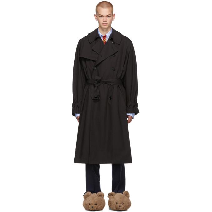 VETEMENTS ブラック ニュー クラシック トレンチ コート