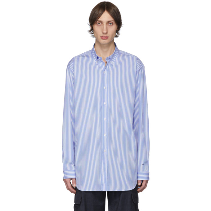 VETEMENTS Chemise rayee bleue et blanche Anarchy