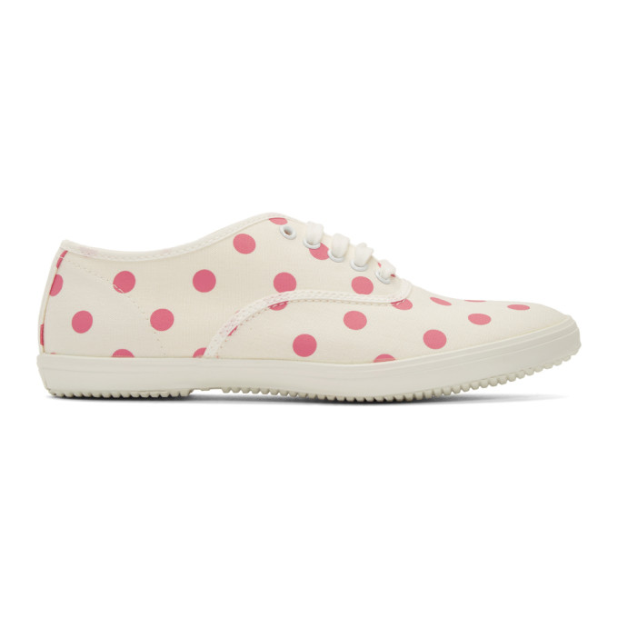 Comme des Garcons Girl Beige and Pink Polka Dot Plimsoll Sneakers