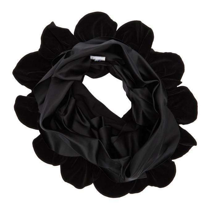 Comme des Garcons Comme des Garcons Foulard en velventine a volants noir Mix