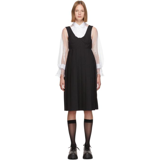 Noir Kei Ninomiya Robe en laine noire Bustier