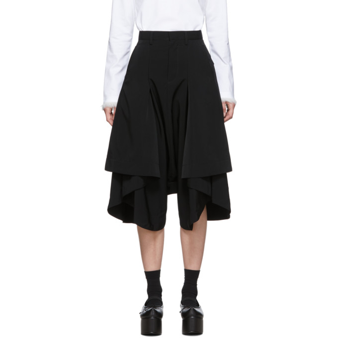 Noir Kei Ninomiya Pantalon plisse noir Short Side