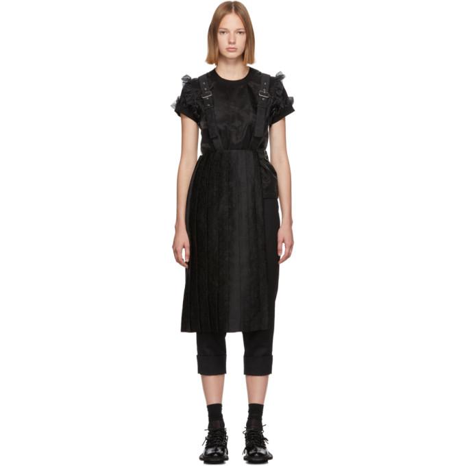 Noir Kei Ninomiya Jupe plissee a bretelles noire
