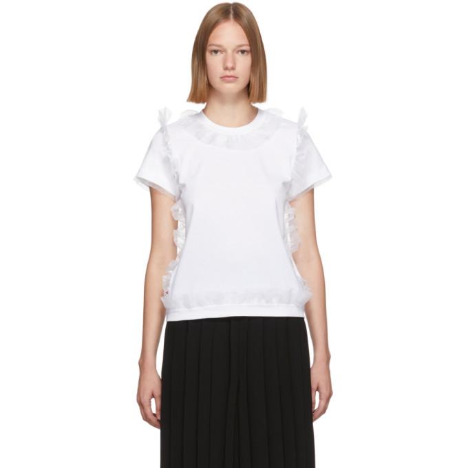 Noir Kei Ninomiya T-shirt en tulle a volants blanc