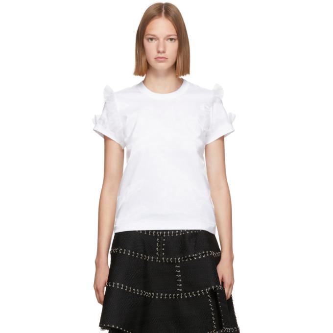 Noir Kei Ninomiya T-shirt blanc Ruffle Sleeve