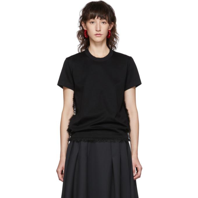 Noir Kei Ninomiya T-shirt a garniture en fourrure synthetique noir