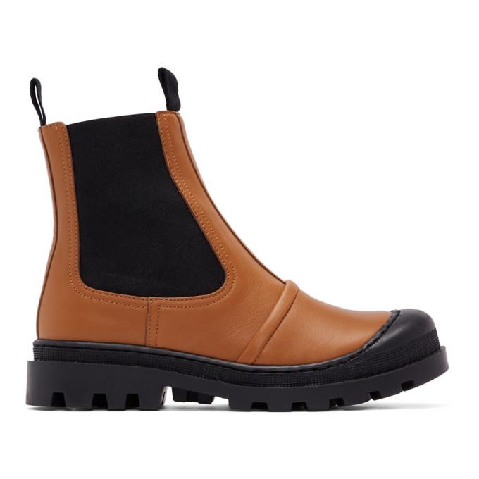 Loewe Tan Chunky Chelsea Boots