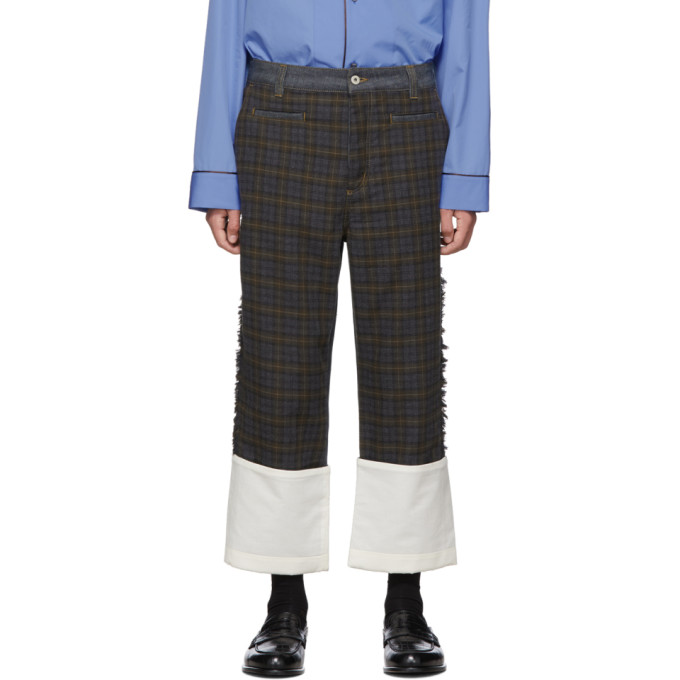 Loewe Grey and Brown Check Patch Fisherman Jeans