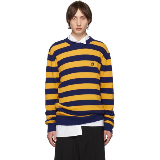Loewe ネイビー and イエロー カシミア ストライプ セーター