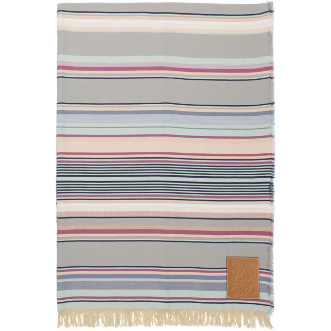 Loewe Multicolor Striped Blanket In 2100White