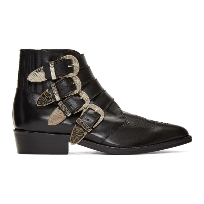 Toga Virilis Black Leather Silver Buckle Boots