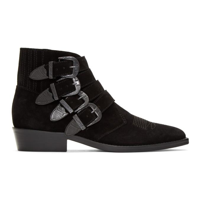 Toga Virilis Black Suede Buckle Boots