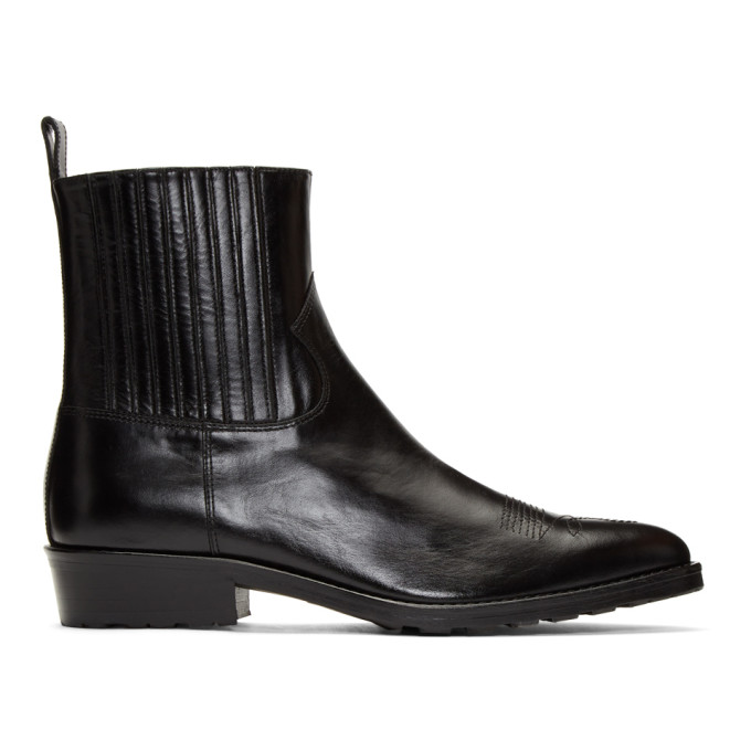 Toga Virilis Black Hard Leather Chelsea Boots