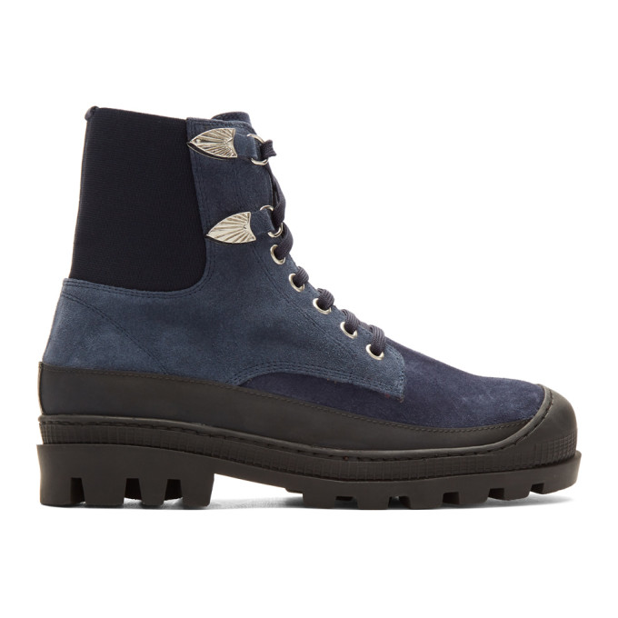 Toga Virilis Blue Suede Lace-Up Boots