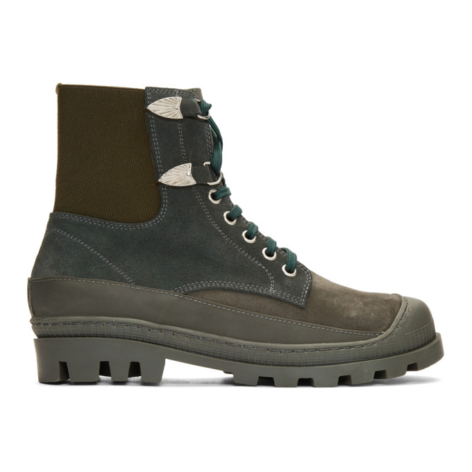 Toga Virilis Green Suede Lace-Up Boots