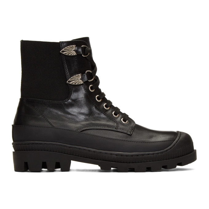 Toga Virilis Black Leather Lace-Up Boots
