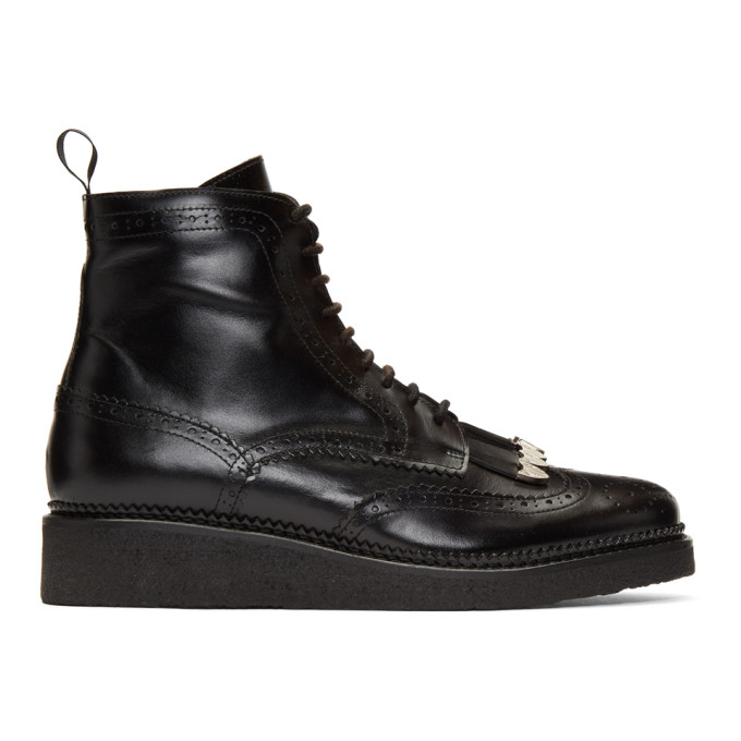 Toga Virilis Black Hard Leather Lace-Up Boots