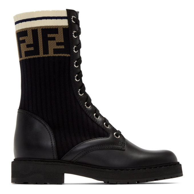 FENDI | Fendi Black Rockoko Combat Boots | Goxip