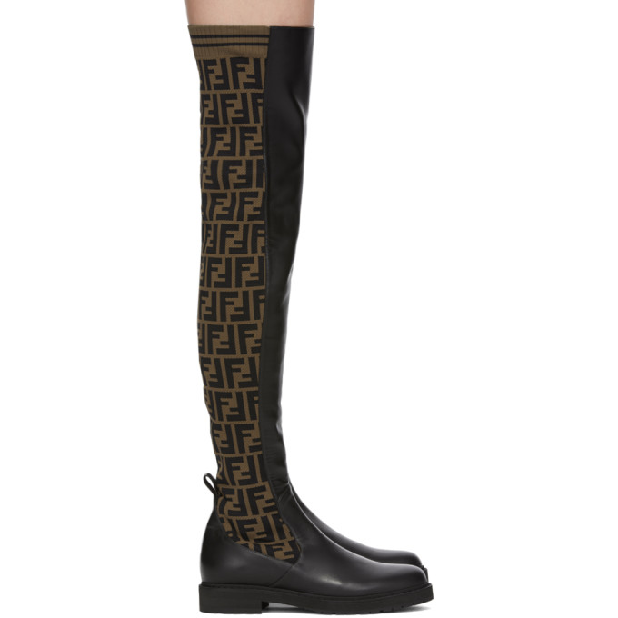 Fendi Brown and Black Forever Fendi Tall Boots