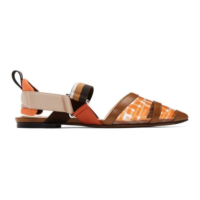 FENDI | Fendi Brown And Orange PVC Colibri Flats | Goxip