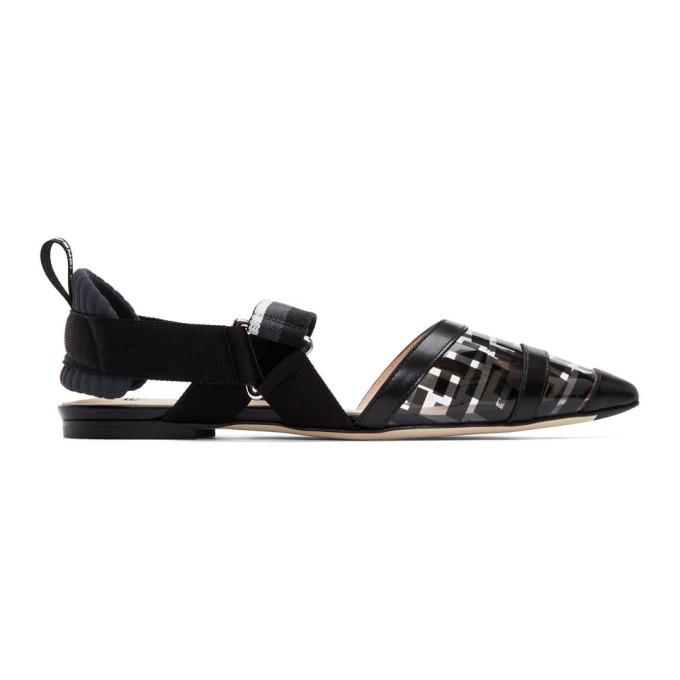 FENDI | Fendi Black PVC Colibri Flats | Goxip