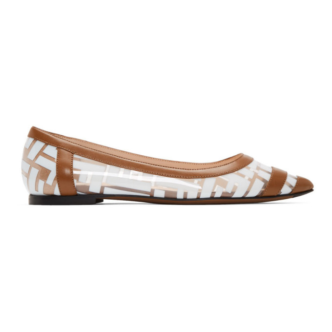 FENDI | Fendi Brown And White PVC Colibri Ballerina Flats | Goxip