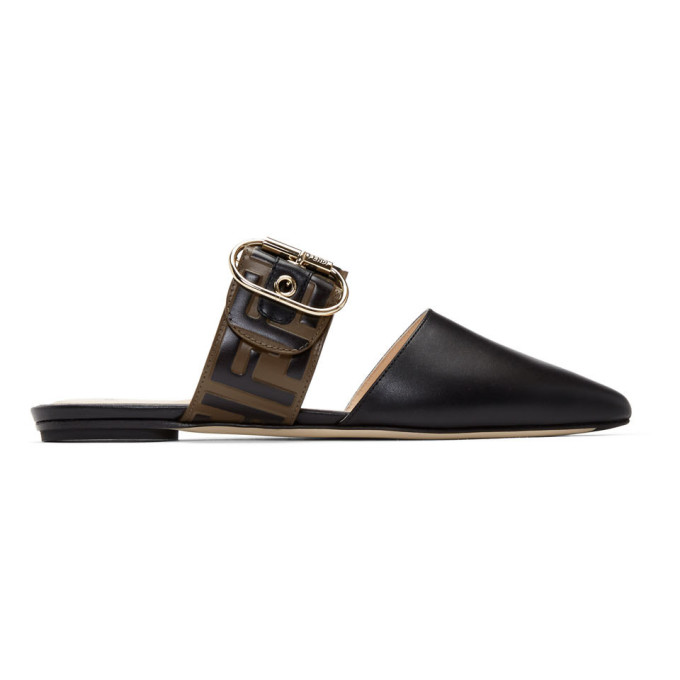 FENDI | Fendi Brown And Black Sabot Slippers | Goxip