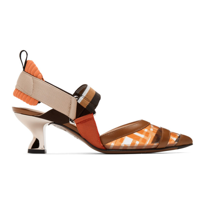 Fendi Brown and Orange PVC Colibri Slingback Heels